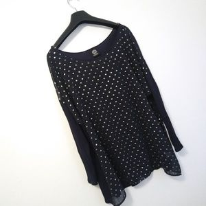 Bobeau Polka Dot Sheer Dolan Sleeve Top